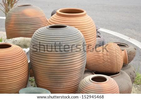 Wonderful shape of earthenware beside the road - stock photo