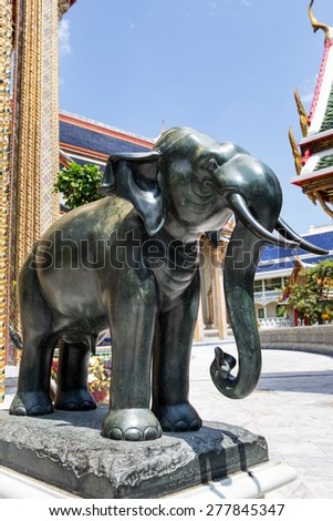Wonderful side view elephant statues decorate at temple in  Bang
