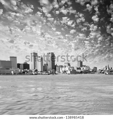 Wonderful skyline of New Orleans from Mississippi river - Louisiana. - stock photo