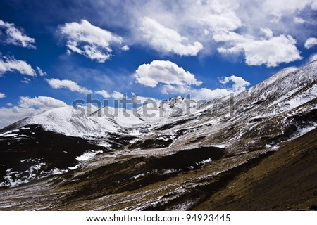 wonderful snow mountain landscape in tibet with blue sky and white cloud