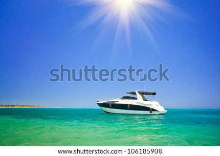 Wonderful speedboat in turquoise Red Sea. - stock photo