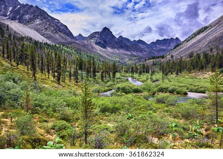 Wonderful summer landscape in the mountains of Eastern Siberia . Tunka range. Russia