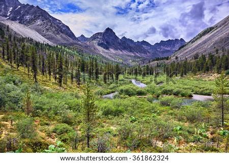 Wonderful summer landscape in the mountains of Eastern Siberia . Tunka range. Russia - stock photo