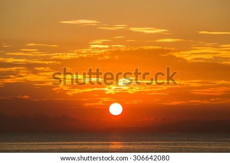Wonderful sunrise on the beach in Sanur. The island of Bali, Indonesia - stock photo