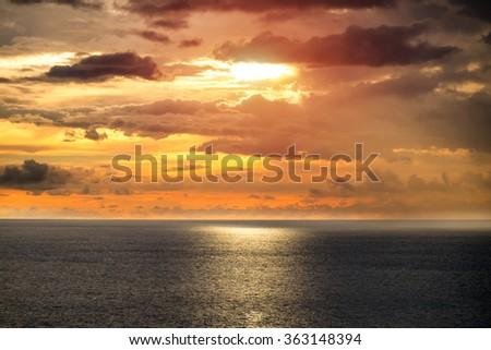 Wonderful sunset over the ocean.  - stock photo
