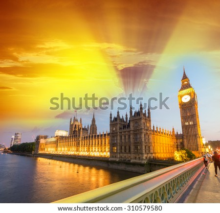 Wonderful sunset sky over Westminster. Houses of Parliament at golden hour, London, - stock photo