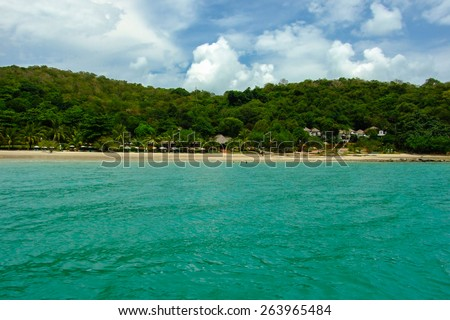Wonderful tropical beach and mountain with blue sky at Koh Samet Island in Rayong province , Thailand. - stock photo