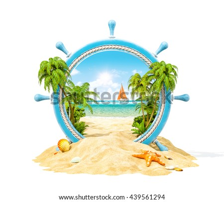 Wonderful tropical landscape with palms and beach in wooden helm. Unusual creative travel  3D illustration. Isolated at white background. Travel concept illustration - stock photo