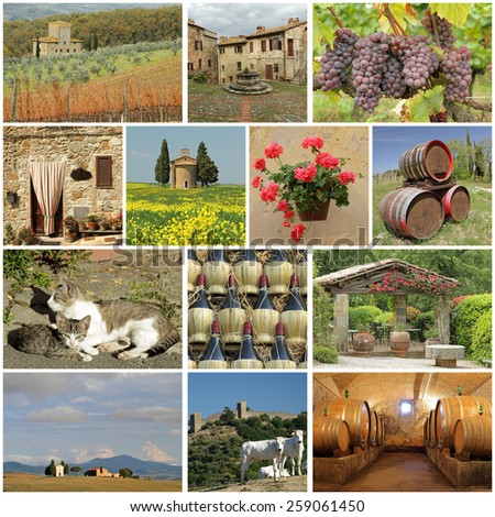 wonderful Tuscany - collage - stock photo