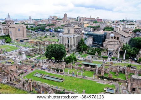 Wonderful view from the top of the Roman forum,italy