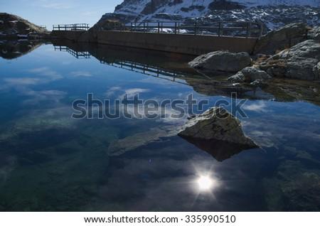 Wonderful view of a mountain landscape in winter.  Valgoglio, Bergamo Alps, Italy - stock photo