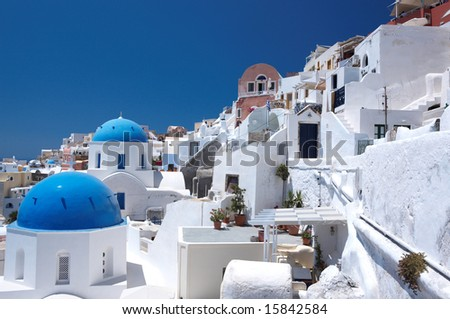Wonderful view of City buildings and bay on Santorini, Greece