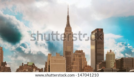 Wonderful view of Manhattan Skyscrapers with beautiful sky colors - New York City. - stock photo