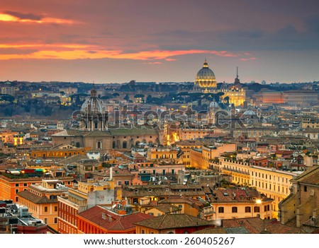 Wonderful view of Rome at sunset time with St Peter Cathedral