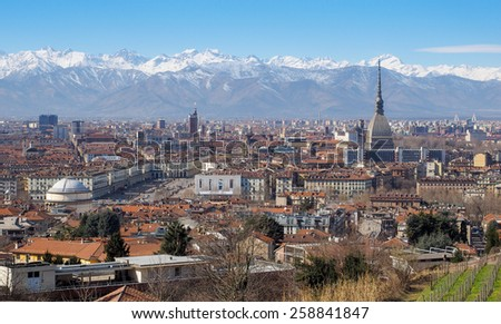 Wonderful view of Turin. With background of the Alps are visible some important attractions: Mole Antonelliana, Gran Madre church and Saint John church, where is shown to public the Holy Shroud.