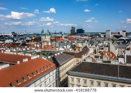 Wonderful view of Vienna from a viewing platform on St. Stephen's Cathedral. Vienna, Austria. - stock photo