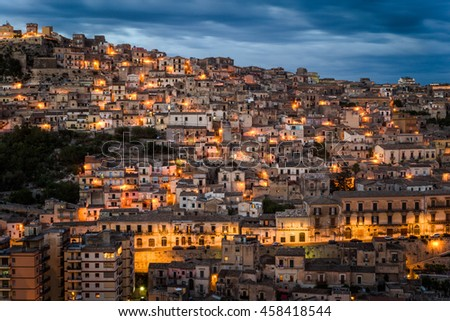 Wonderful view over the village of Modica in the south of Sicily, ITaly.