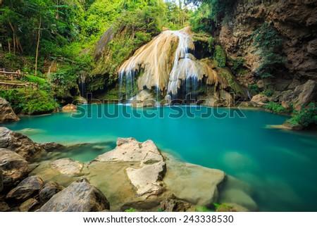 wonderful waterfall  in thailand - stock photo
