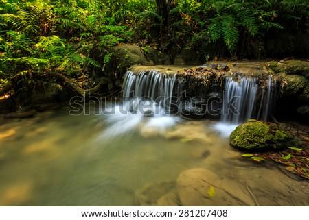 wonderful waterfall in thailand, Pugang waterfall chiangrai - stock photo