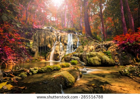 wonderful waterfall in thailand, Pugang waterfall chiangrai - stock photo