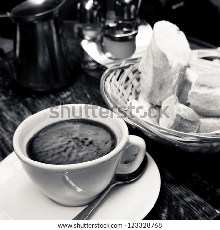 wonderful white cup of hot coffee on table - stock photo
