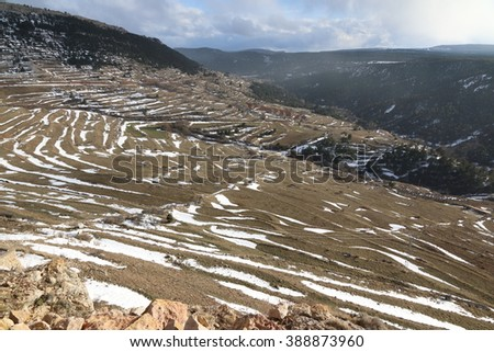 Wonderful winter in snowfall day. Gudar village in Teruel Aragon Spain - stock photo