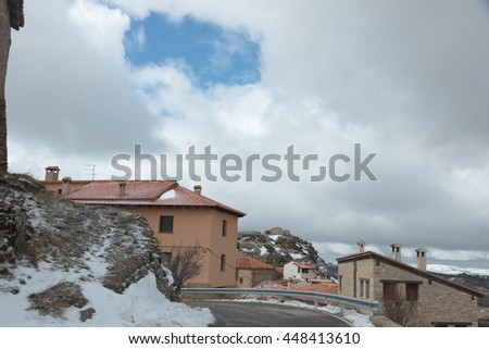 wonderful winter in snowfall day. Gudar village in Teruel Aragon Spain - stock photo