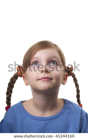 Wondering funny little girl portrait isolated over white background - stock photo