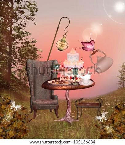 Wonderland series - birthday banquet - stock photo