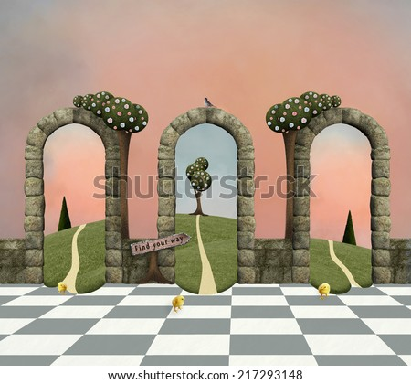 Wonderland series - Make your choice, conceptual background - stock photo