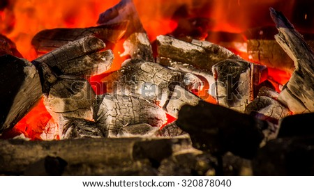 wood and coal burning in a fireplace - stock photo