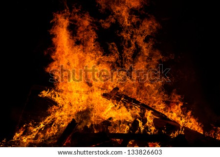 Wood and lumber in a raging fire