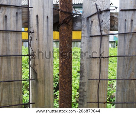 Wood and metal grille texture - stock photo