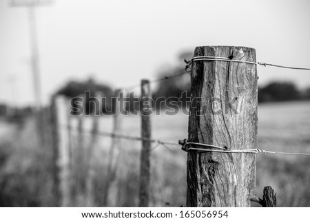wood and wire fence in the green fields at cordoba argentina, patagonia in black and white - stock photo