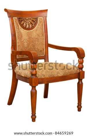 wood armchair isolated on white with paths - stock photo