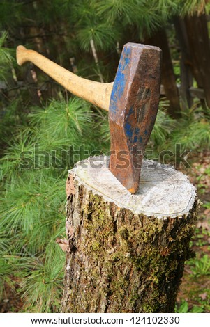 wood axe isolated in natural woods setting - stock photo