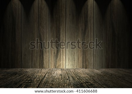 Wood background,table with wooden wall,empty table for product display montages - stock photo