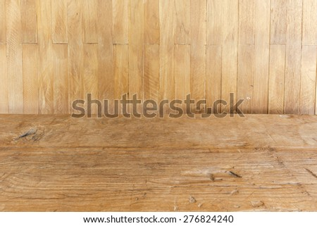 Wood background wall with wood floors - stock photo