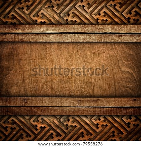 wood background with carving - stock photo