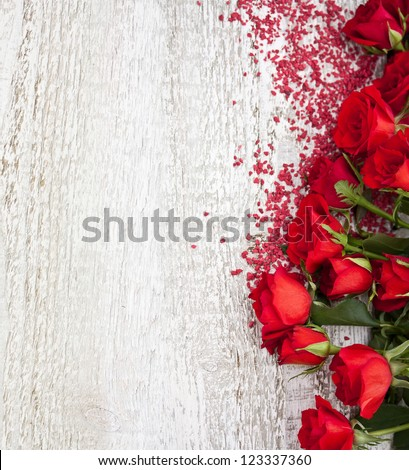Wood Background with Roses - stock photo
