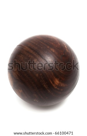 wood ball croquet on a white background - stock photo