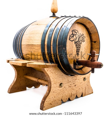 Wood barrel for wine on a white background