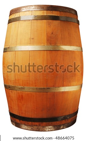 Wood barrel isolated on white with a clipping path  - stock photo
