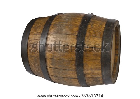 Wood barrel with steel rings on white - stock photo