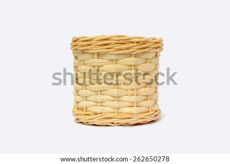 wood basket pot on isolated background. Wicker pot. Straw pot. Woven pot. Picnic pot. Vintage pot isolated. - stock photo