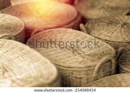 Wood basket. Vintage filter. - stock photo