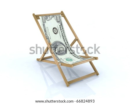 wood beach chair with 100 dollars 3d illustration