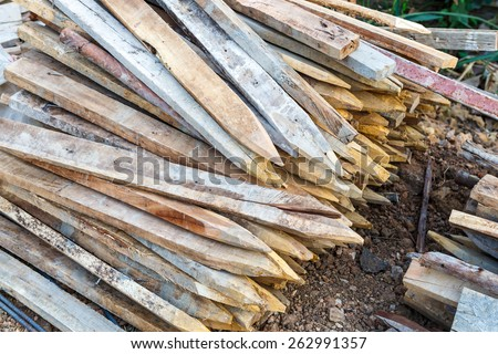 Wood beam stack for construction job