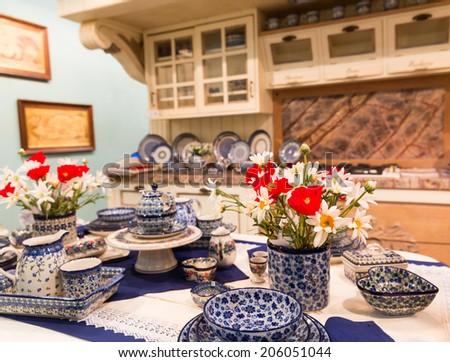 Wood beautiful custom kitchen interior design - stock photo