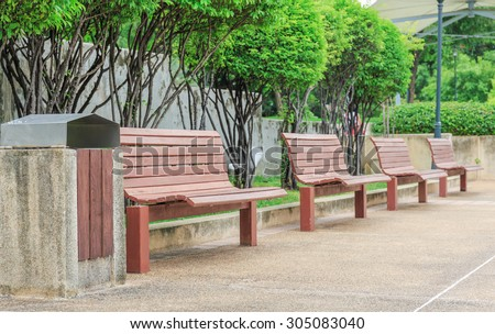 wood bench in the public park